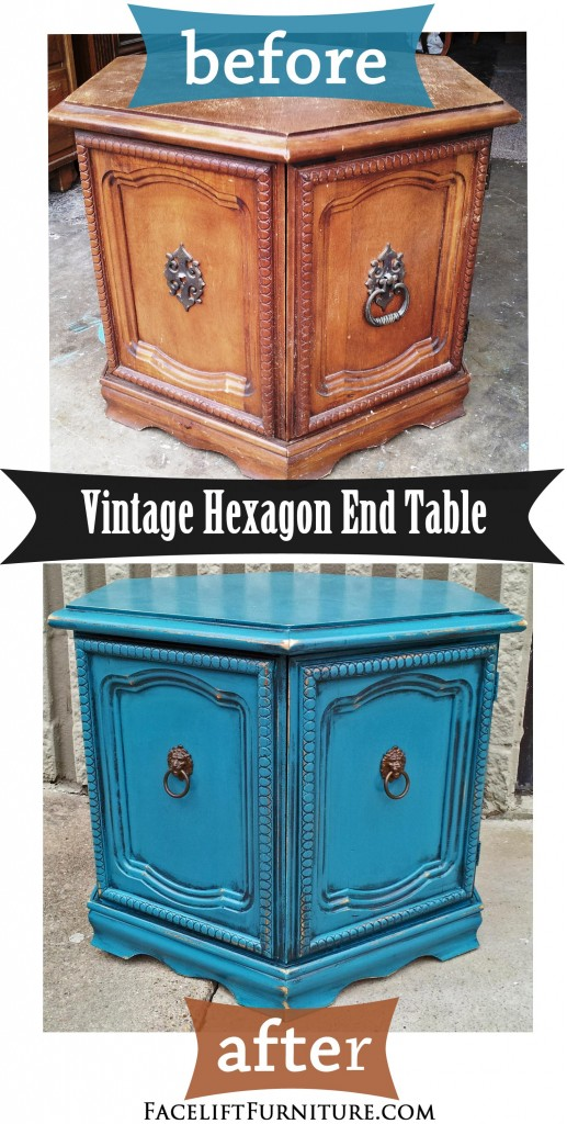 Peacock Blue Hexagon End Table - Before & After - Facelift Furniture