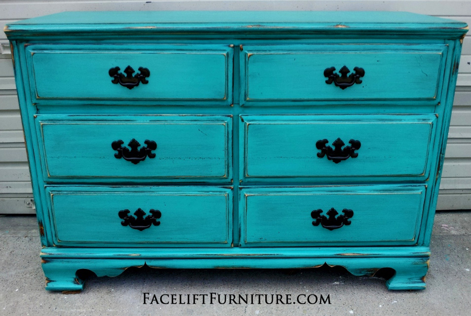 Distressed Turquoise Dresser with Black Vintage Pulls | Facelift ...