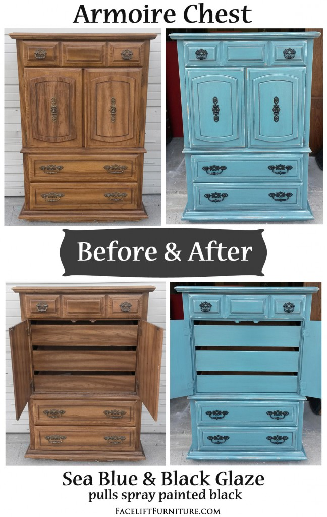 Sea Blue Armoire Chest With Black Glaze Before Amp After