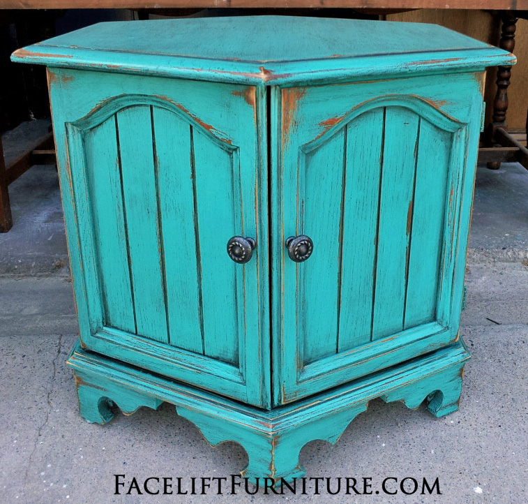Hexagon end table painted, glazed, and distressed in Turquoise . Black ...