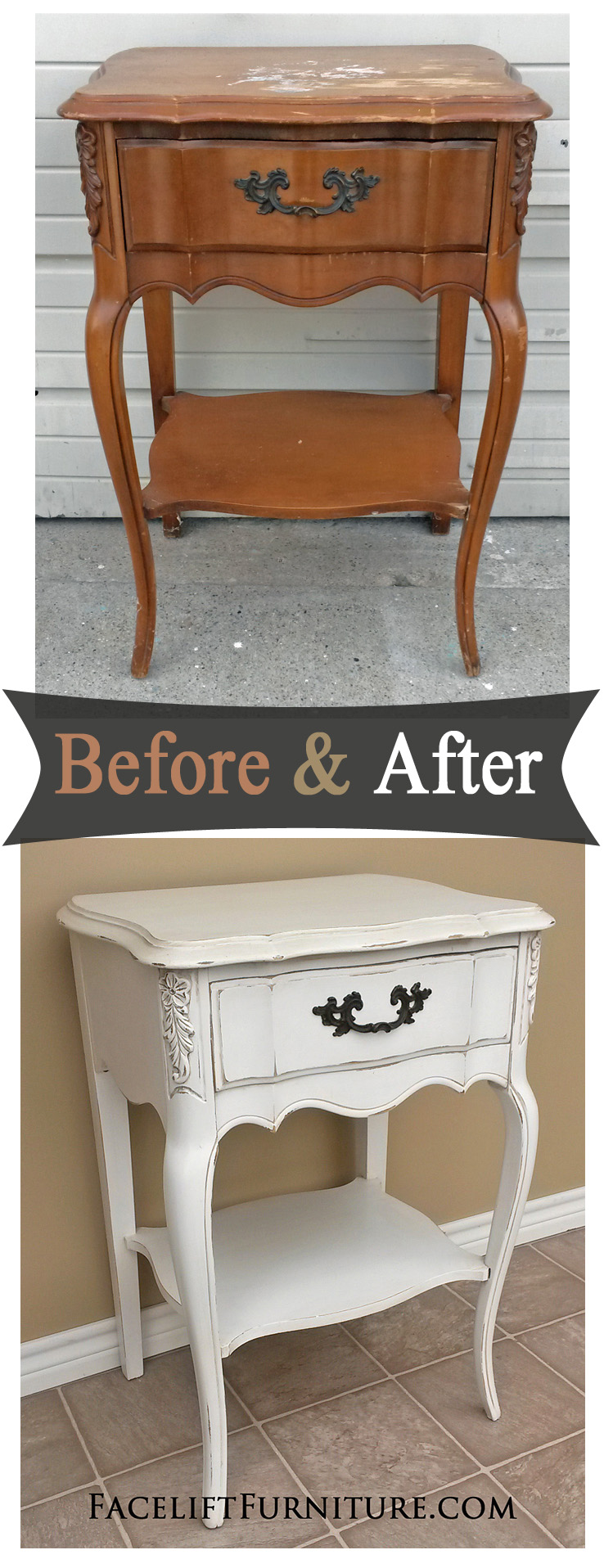 Painted French Provincial Bedroom Furniture Antiqued White French Nightstand Before After Facelift Furniture