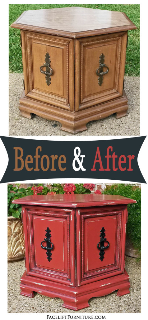 Blazing Orange Hexagon End Table - Before & After - Facelift Furniture