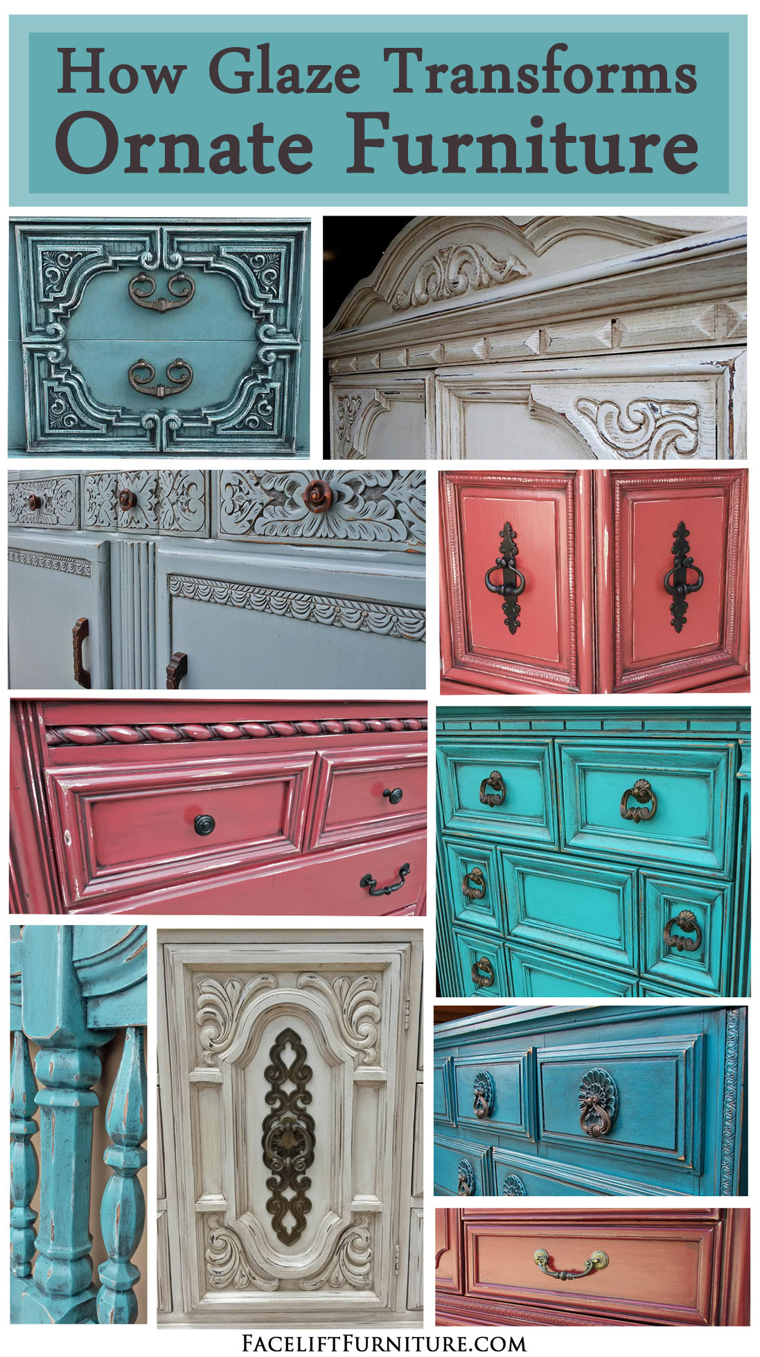 How Glaze Transforms Ornate Furniture ~ Facelift Furniture   http://www.faceliftfurniture.com/glaze-transforms-ornate-furniture/