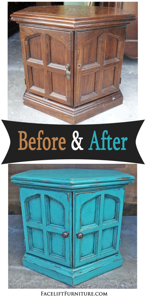 Turquoise Hexagon End Table - Before & After - Facelift Furniture