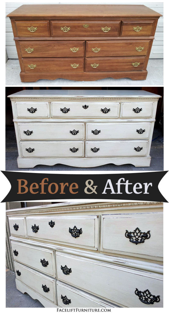 Off White Dresser With Espresso Glaze Before Amp After