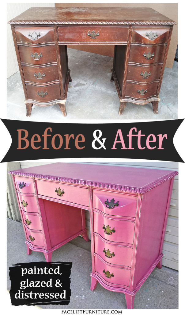 Curvy Antique Desk In Distressed Hot Pink Before After Find More Painted