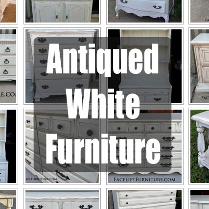 Antiqued White Refinished Furniture! From Facelift Furniture's Color Collection.