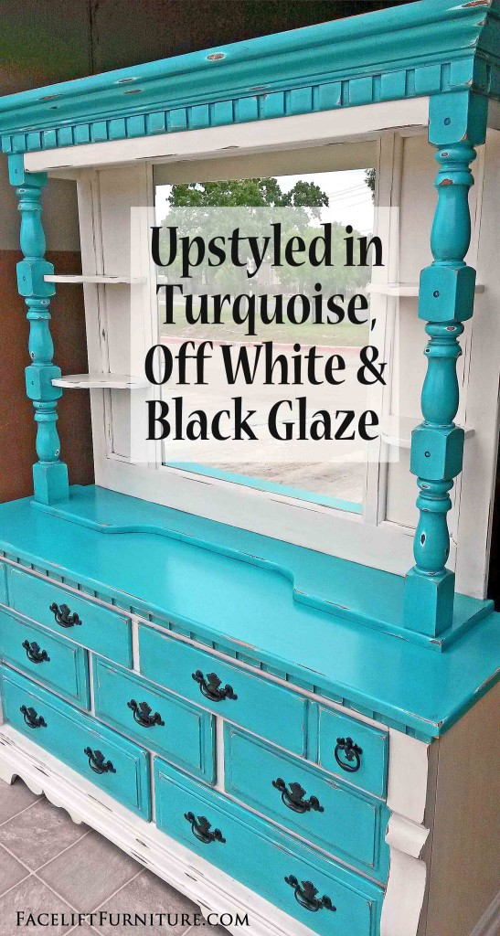 Distressed Turquoise U0026 Off White Dresser With Mirror Hutch   Facelift  Furniture