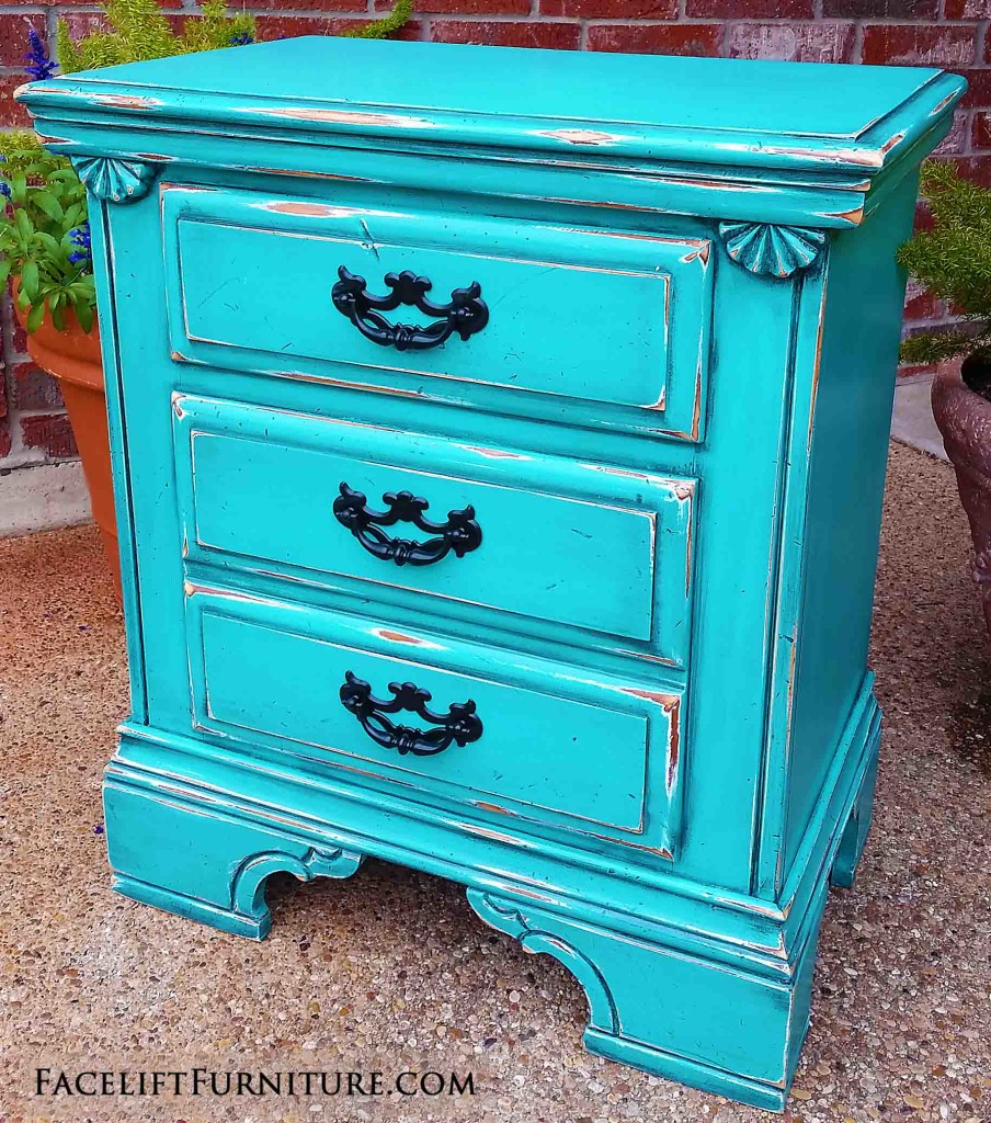 Nightstand in Distressed Turquoise & Black Glaze