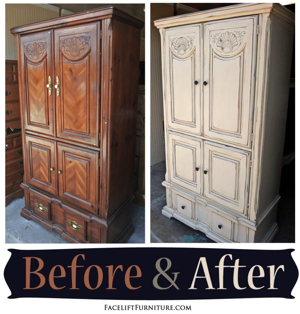 Clothing Armoire Given A New Life In Distressed Off White U0026amp; Tobacco  Glaze   Before