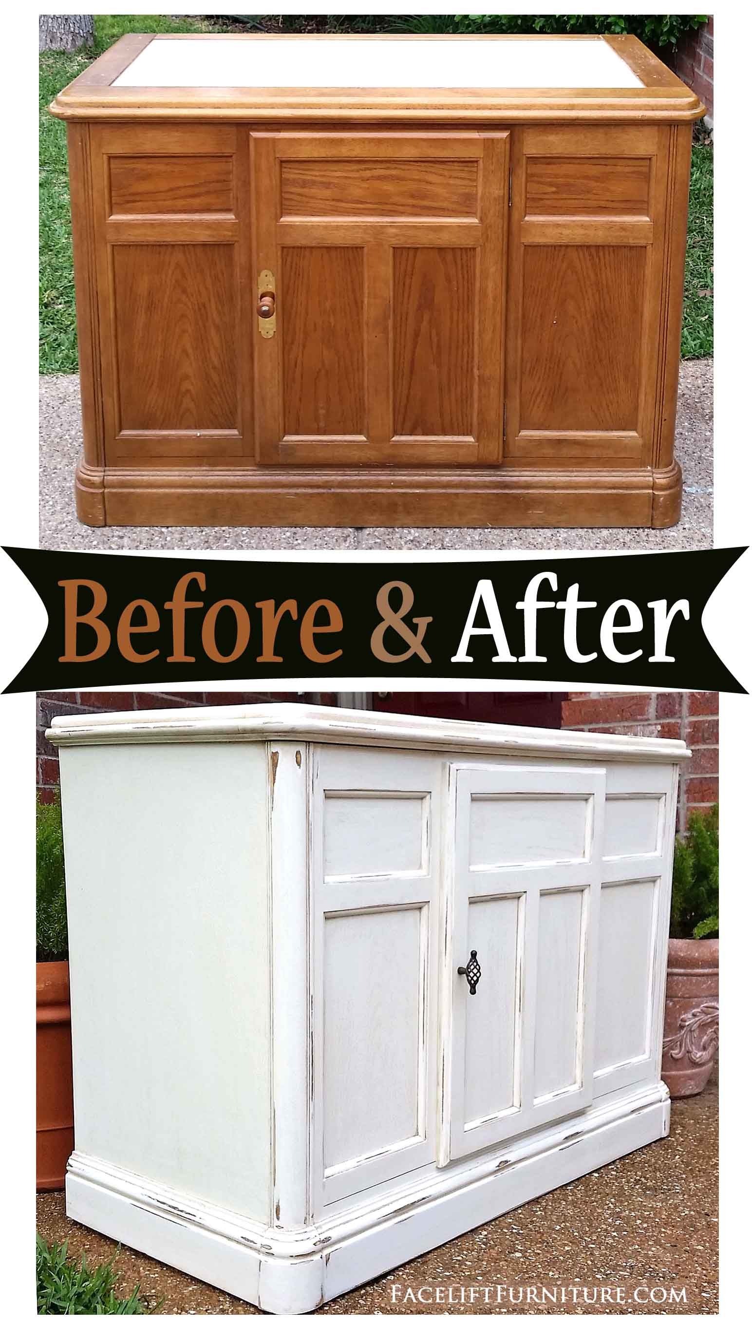 Distressed Off White Cabinet With Tobacco Glaze U2013 Before U0026 After