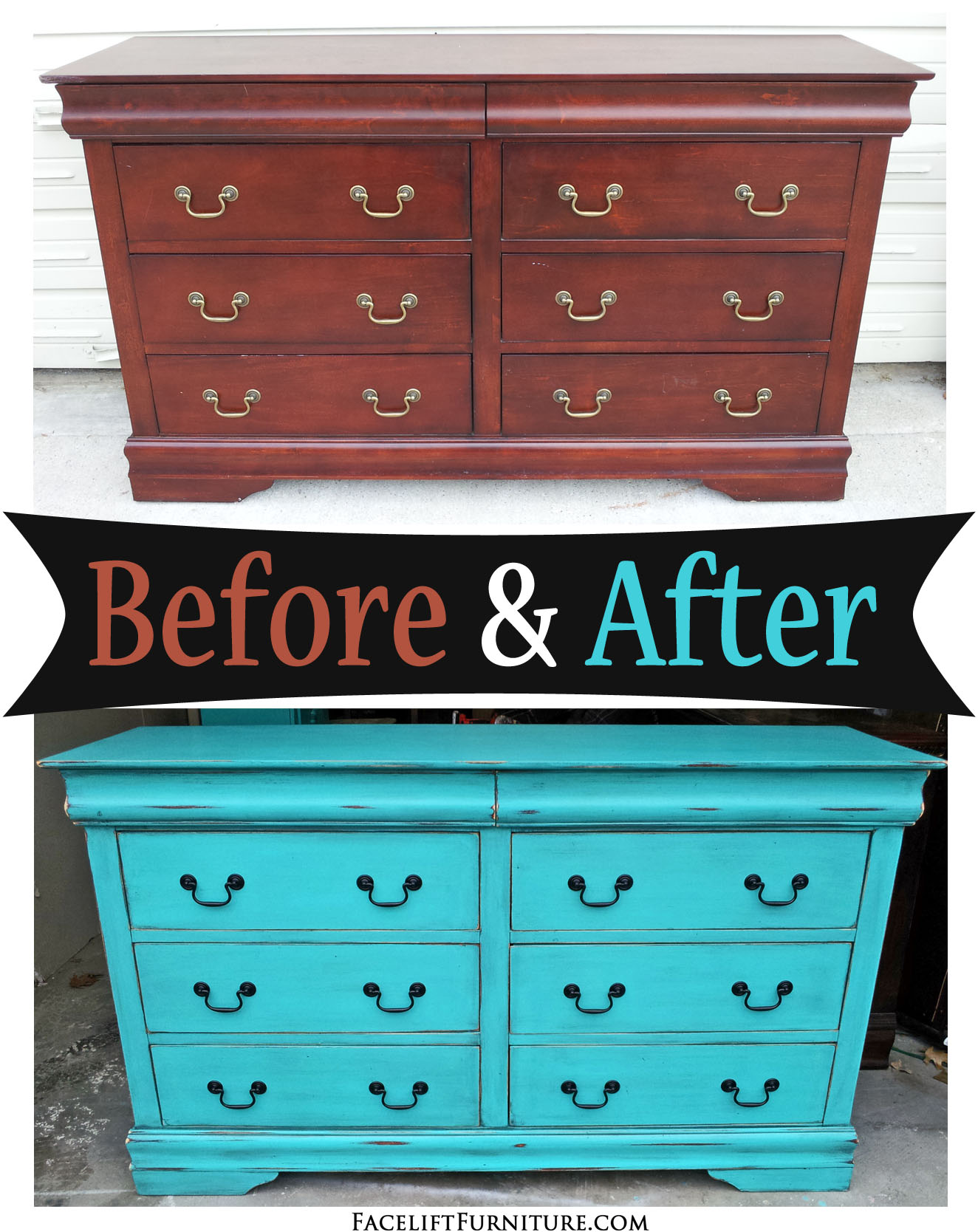Dresser In Distressed Turquoise U0026 Black Glaze U2013 Before U0026 After
