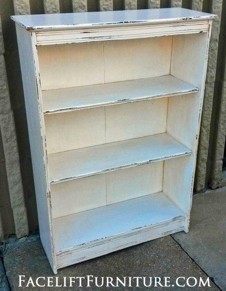 distressed antiqued white bookshelf - Distressed Bookshelves