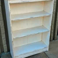 Distressed Antiqued White Bookshelf