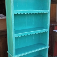 Bookshelf in Turquoise and white glaze