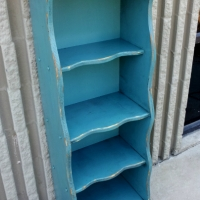 Curvy Bookshelf in distressed Sea Blue and Black Glaze, with backing added. From Facelift Furniture's DIY Inspiration album.