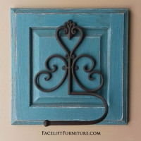 Towel or Toilet Paper Holder in distressed Sea Blue with Black Glaze. Repurposed from small cabinet door.