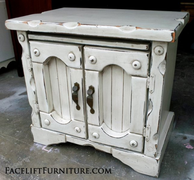 Super Chunky Nightstand in Antqued White with Espresso Glaze. From Facelift Furniture's Antique White Furniture collection.