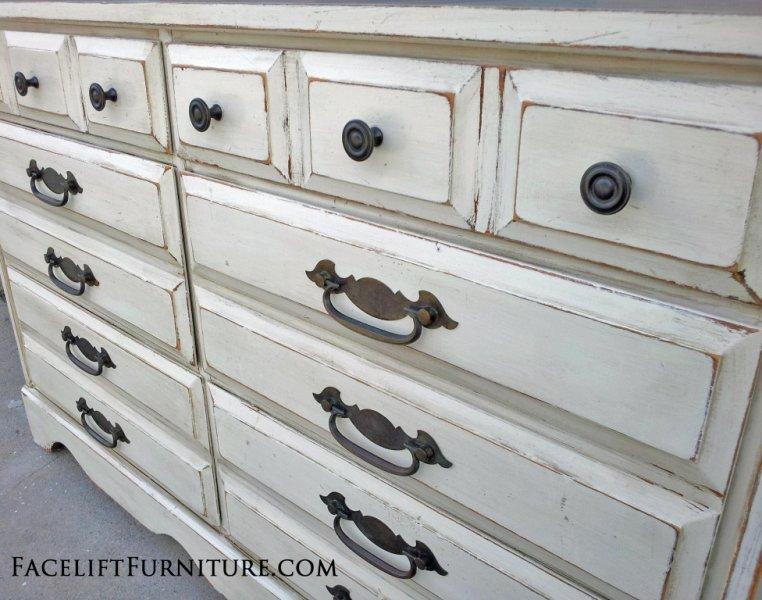 Dresser in Antiqued White and Espresso Glaze. Original hardware. From  Facelift Furniture's Antique White - Antiquing Furniture With Glaze Antique Furniture