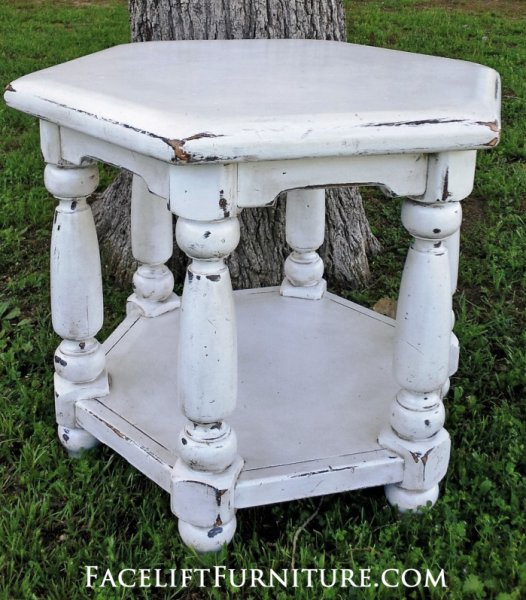 Distressed Chunky Antiqued White Hexagon End Table with Espresso Glaze. From Facelift Furniture's Antique White Furniture collection.