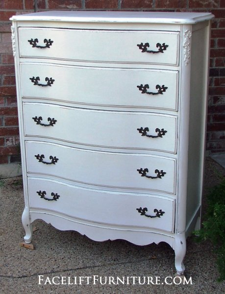 French Provincial Chest of Drawers in Antiqued White. Original Pulls. From Facelift Furniture's Antique White Furniture collection.