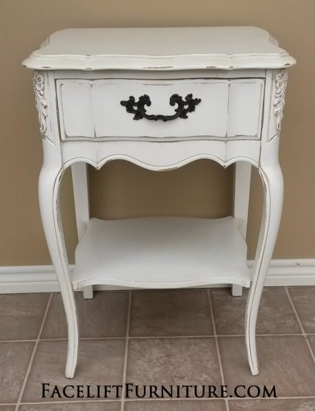 Curvy French Nightstand in distressed Antiqued White with light Tobacco  Glaze. From Facelift Furniture's Antique - Antiqued White Refinished Furniture - Facelift Furniture