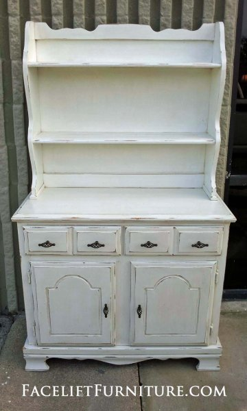 Small Maple Hutch in distressed Antiqued White.  New pulls. From Facelift Furniture's Antique White Furniture collection.