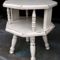 Antiqued White Chunky Octogon End Table with Espresso Glaze. From Facelift Furniture's Antique White Furniture collection.