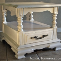 Distressed Chunky Antiqued White End Table. From Facelift Furniture's Antique White Furniture collection.