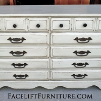 Dresser in Antiqued White and Espresso Glaze. Original hardware. From Facelift Furniture's Antique White Furniture collection.