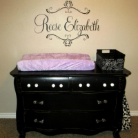 Brooke's upstyled dresser will be used for a changing table.