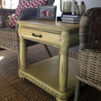 Kassie's chunky end table in dsitressed Yellow with Black Glaze.