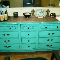 Brandi's dresser at the French Door Spa.