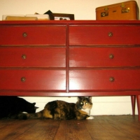 Amanda's mid-century modern dresser painted chili pepper red, lightly distressed, and with black glaze.