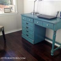 Kassie's Ethan Allen desk in Sea Blue with Black Glaze