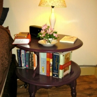 Amanda's tiered maple bed side table painted plum and lightly distressed.
