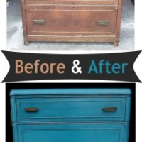 Before & After - Vintage waterfall chest of drawers in distressed Peacock Blue with Black Glaze. From Facelift Furniture.