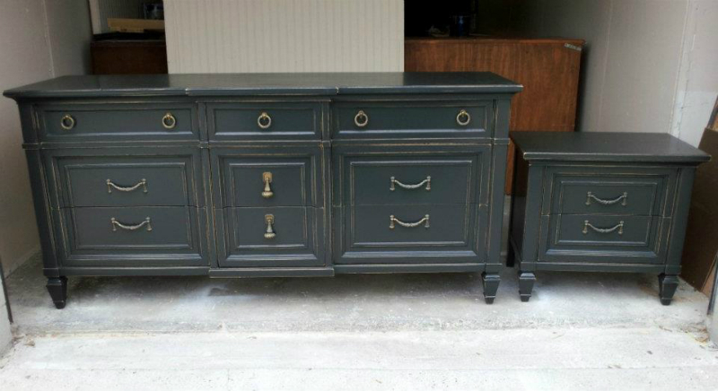 Matching dresser and nightstand in Black, with lots of linear distressing on edges.  Original hardware. From Facelift Furniture's DIY Inspiration album.