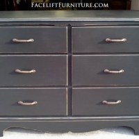 Distressed Black Maple Dresser with new pulls, From Facelift Furniture's Dressers collection.