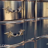 French Provincial Dresser in distressed Kettle Black with High Gloss Poly. Original pulls. From Facelift Furniture's Dressers collection.