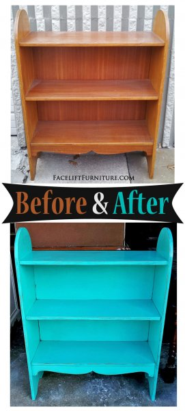 Rounded Turqouise Bookshelf- Before & After