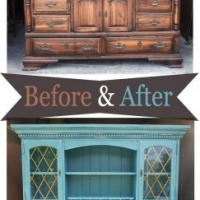 Lg Sea Blue Hutch - Before & After