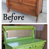 Lime Green Buffet - Before & After