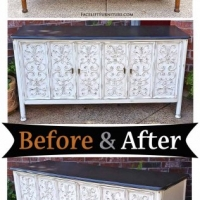 Off White Ornate Buffet - Before & After