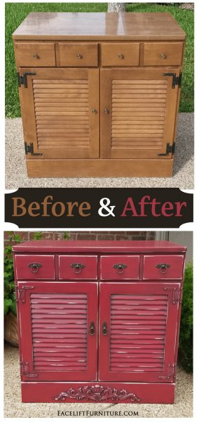 Before & After - Maple cabinet with ornate wood applique added at bottom. In distressed Barn Red with Black Glaze. From Facelift Furniture.