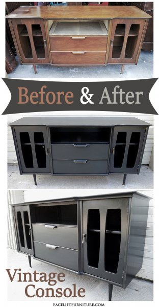 Black Vintage Console - Before & After