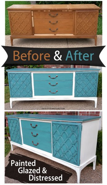 Buffet Sea Blue Off White - Before & After