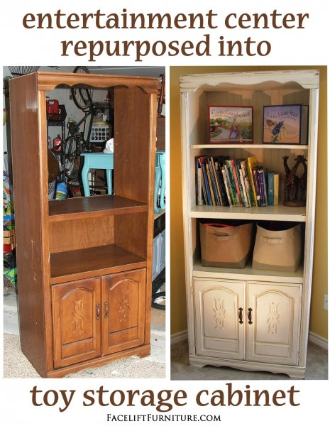 Repurposed Toy Cabinet - Before & After