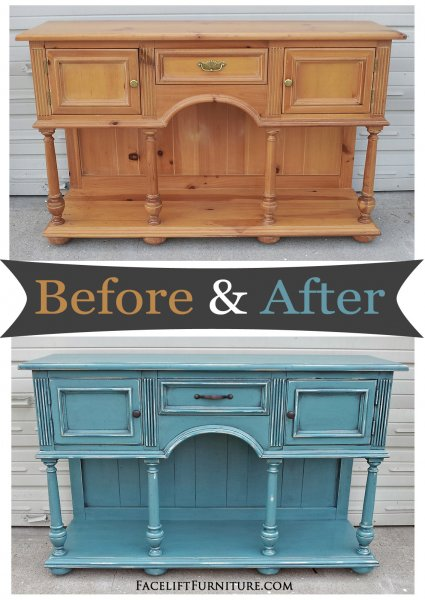 Before & After - Pine buffet in distressed Sea Blue with Black Glaze. From Facelift Furntiure.