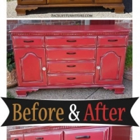 Barn Red Cabinet - Before & After